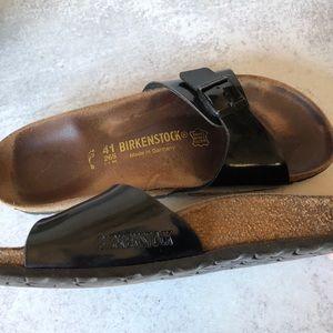 Birkenstock Madrid black patent birko-flor sandals